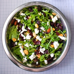 Baby Arugula Salad with Dried Cranberries Goat Cheese Nuts and Seeds Recipe
