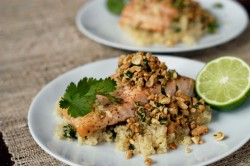 Baked Salmon with Peanut Cilantro Relish Recipe