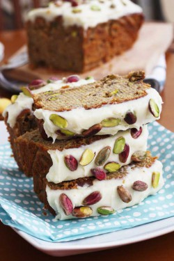 Banana Pistachio Loaf with White Chocolate Cream Cheese Frosting Recipe