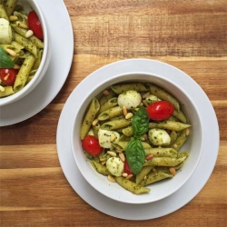 Basil Pesto Penne with Pine Nuts Tomatoes and Mozzarella Recipe