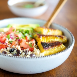 Beans and Rice with Sauteed Plantains Avocado and Tomato Salsa Recipe