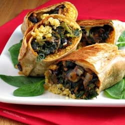 Black Bean Spinach Quinoa Burritos