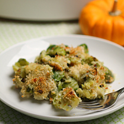 Brussels Sprout and Leek Gratin with Rosemary Recipe
