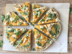 Butternut Squash Chickpea and Tahini Pizza with Quinoa Crust Recipe
