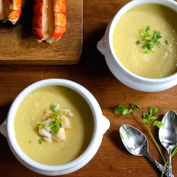 Celery Root Bisque with Lobster Tail Recipe