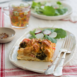 Day-old bread and cheese casserole