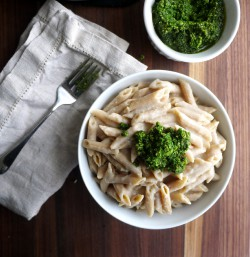 Garlicky White Bean Pasta with Kale Pesto Recipe