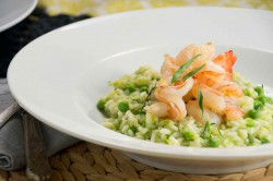 Green Pea Risotto with Lemon Shrimp Recipe
