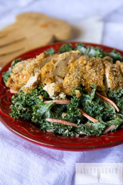 Kale Caesar Salad with Almond Crusted Chicken Recipe