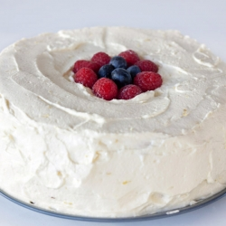Lemon Cream Frosted Angel Food Cake