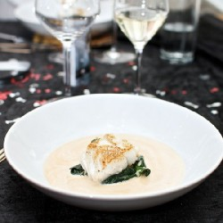 Pan Fried Cod, Spinach and Sauce