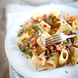 Pasta With Artichokes, Smoked Bacon