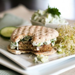 Quinoa Burger and Tzatziki Sauce