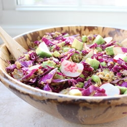 Quinoa Salad with Cabbage Edamame Avocado and Pickled Radishes Recipe