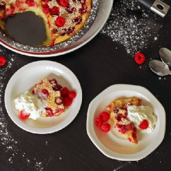 Raspberry and Coconut Clafoutis