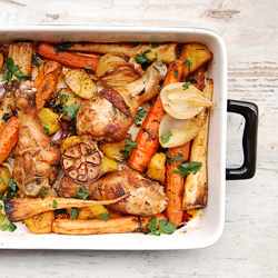 Roasted Chicken Drumsticks with Potatoes Carrots and Parsley Recipe