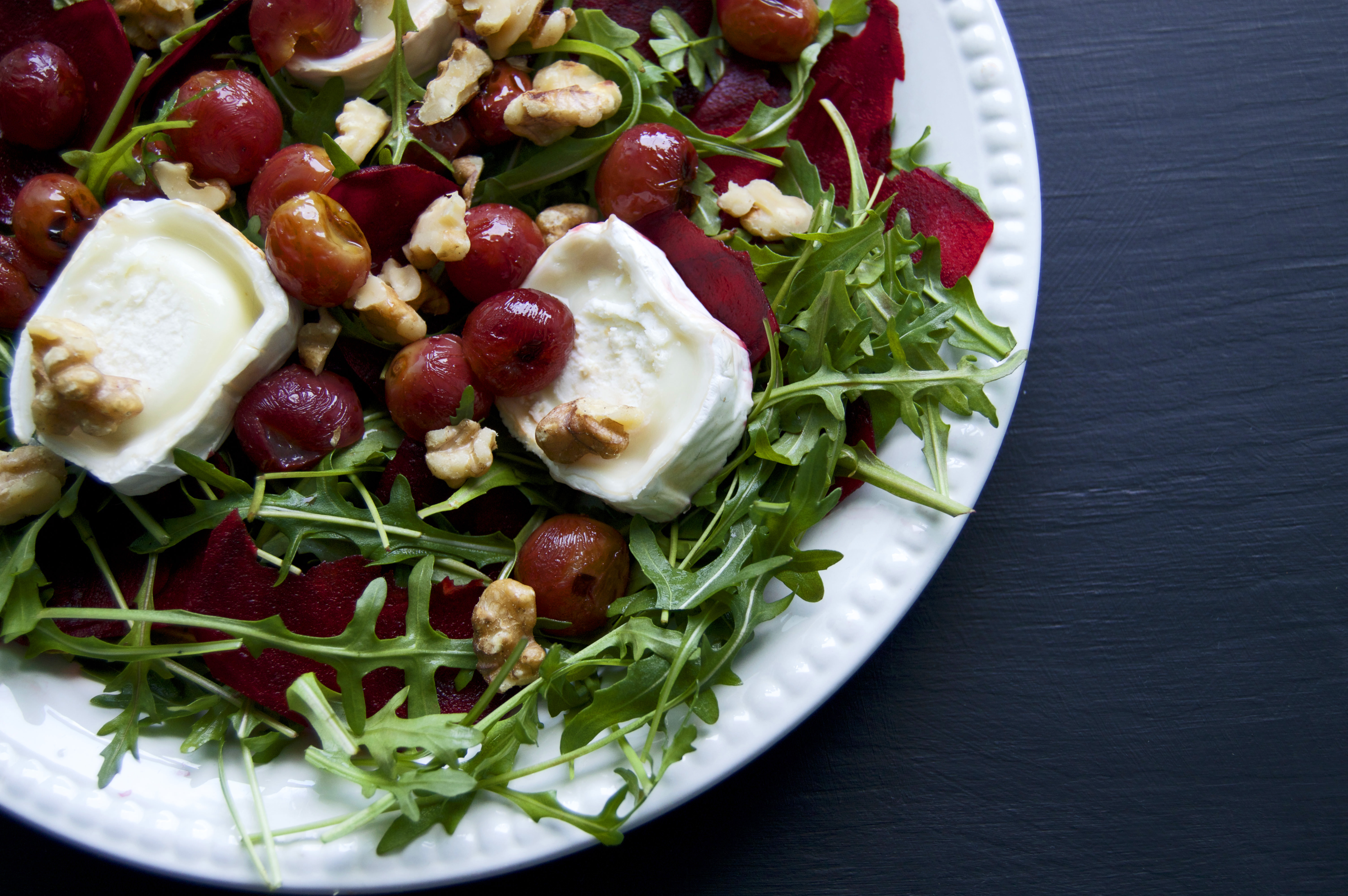 Roasted Grape Salad with Arugula Walnuts Goat Cheese and Beets Recipe