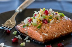 Roasted Salmon with Fennel Pomegranate and Mint Salsa Recipe