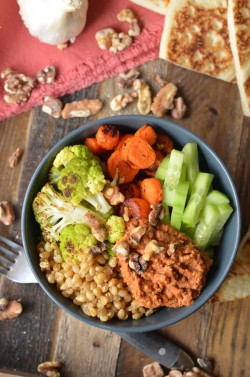 Roasted Veggie Wheat Berry Bowl with Muhammara Recipe