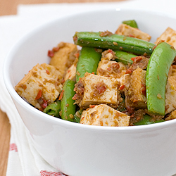 Sambal Beancurd with Snap Peas