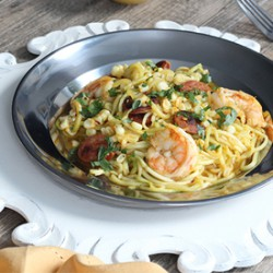 Shrimp and Chorizo Zucchini Pasta