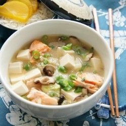 Simple Miso Soup with Salmon