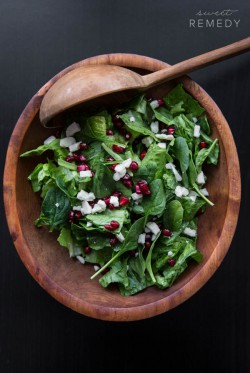 Spinach Pomegranate and Feta Salad
