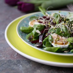 Spring salad with goat cheese