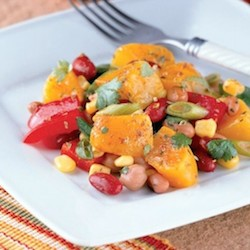 Tex Mex Beans Peppers and Peach Salad Recipe