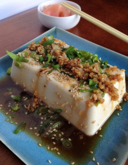 Tofu with Green Onions Sesame and Soy Appetizer Recipe