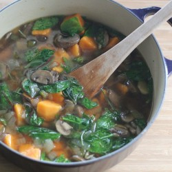 Vegetarian Mushroom and Greens Soup