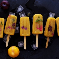 Yellow Plum and Rosemary Popsicles