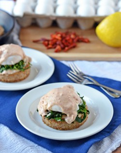 Arugula Eggs Benedict with Easy Goat Cheese Sundried Tomato Hollandaise