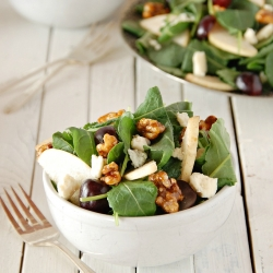 Baby Kale Salad with Asian Pears Grapes Walnuts Gorgonzola and Honey Vinaigrette Recipe