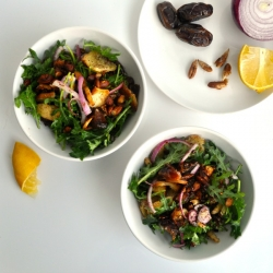 Baby Kale Salad with Dates and Sumac Almonds Recipe