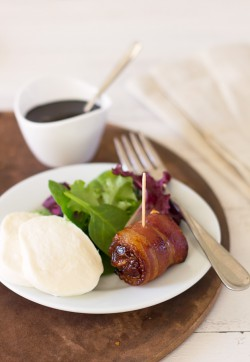 Bacon-Wrapped Dates with Balsamic Reduction