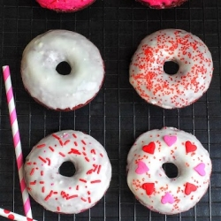 Baked Red Velvet Cake Donuts with Cream Cheese Glaze