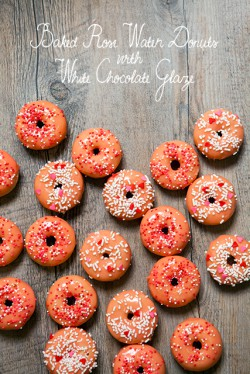 Baked Rose Water Donuts with White Chocolate Glaze