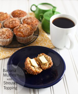 Banana Muffins with streusel toppin