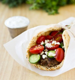 Beef Gyros with Cucumber-Dill Sauce
