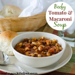 Beefy Tomato and Macaroni Soup