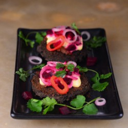 Black Bean Cakes with Duck Mole