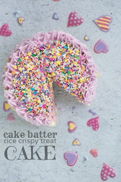 Cake Batter Rice Crispy Treat Cake Recipe