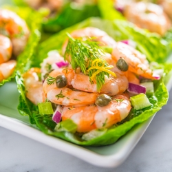 Caper and Dill Shrimp Salad in Romaine Cups