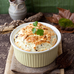 Cheese Souffle with Mushrooms