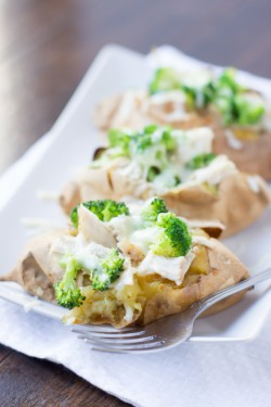 Chicken Broccoli Stuffed White Sweet Potatoes