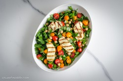 Chickpea and Tomato Salad with Grilled Halloumi Recipe