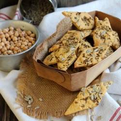 Chickpea Flour Crackers with Sunflower Seeds Recipe