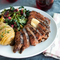 Chili Rubbed Ribeye Steak with Maple Bourbon Butter Recipe