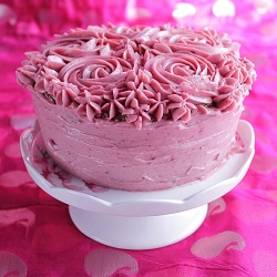 Chocolate Angel Food Cake with Raspberry Swiss Meringue Buttercream Recipe